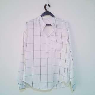 Womens White Grid Shirt Blouse