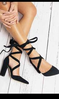Lace up pointed suede heels