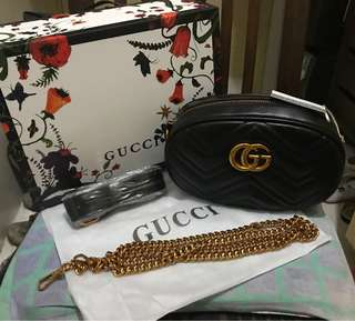 EXCLUSIVE CAROUSELL PRICE!!! Authentic Quality GUCCI Marmont 2-way Sling/Belt Bag in Black
