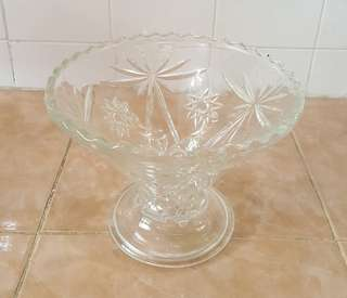 antique pressed glass footed fruit bowl