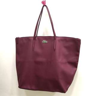 *Free postage 😁 100% Authentic Lacoste Wine Red PU Split cow leather tote bag