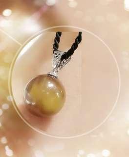 全新品 伊朗出產 綠金砂蜜蠟圓珠 純銀 925 吊咀 一個 QP-20