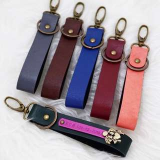 Personalised Keychain Leather Keychain with 1 Customised NAME Tag. Add $1 for charm. Blue sold out.