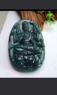 🍍Big! Grade A 冰糯 Goddess of Mercy Guanyin 观音 Jadeite Jade Pendant/Display