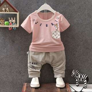 2pcs baby boy short sleeve t-shirt + pants set