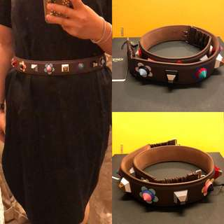 New Fendi brown lamb leather with beads belt