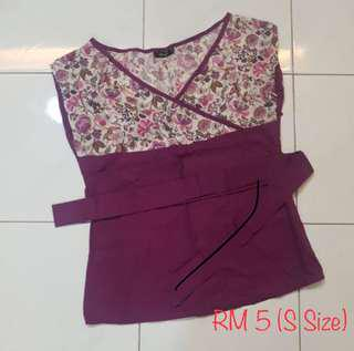 Purple Kimono Top with Ribbon