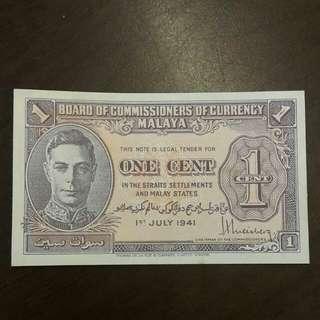 1941 Malaya 1 cent
