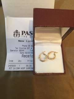 9ct GOLD 2x12mm hoop earrings from Pascoes