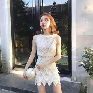Minimei追加款✪韓系韓版休閒 性感新款兩件套露臍上衣高腰半身裙短裙蕾絲套裝夏