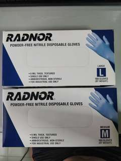 (BNIB) RADNOR Powder-Free Nitrile Disposable Gloves (M/L)