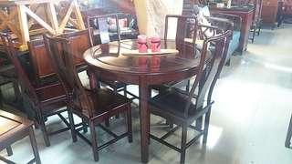 花梨開合桌連6椅