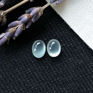Highly Icy A-Grade Type A Natural Light Green Jadeite Jade Oval Cabochon Pair for Earrings No.180087
