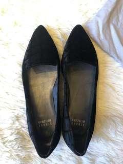 Stuart Weitzman Black Suede Loafers Flats 35