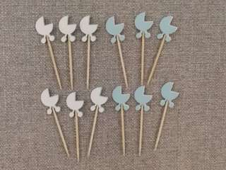 🚚 Baby Stroller 12pcs Cupcake Toppers