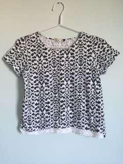Lace Bottom Patterned Top