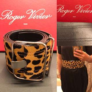 Roger Vivier animal print pony hair thick belt