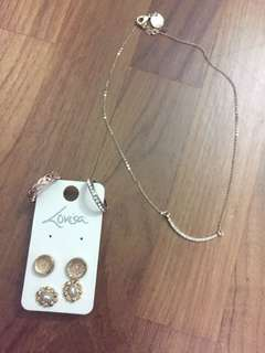 LOVISA set (earnings + necklace + rings)