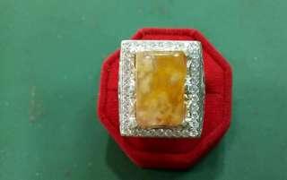Cincin batu mani gajah Ikatan perak asli Round berlian swiss Saiz boleh ejas