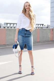 H&M Denim Midi Skirt