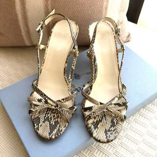 Prada   python leather + rattan wedge sandals shoes  *Size 37  **Made in Italy ...