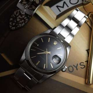 SOLD-     34mm Rolex 6694 Oysterdate In Original Gloss Black