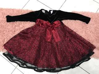 Dress girl glitter red/back