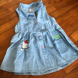 3-4T NEW Hello Kitty Dress Denim Chambray