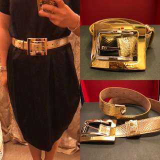 金色皮帶 Dolce & Gabbana gold leather thick belt