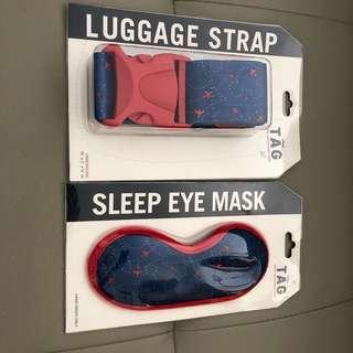 Disney travel set 100% New Luggage Starp & Sleep Eye Mask 購自美國迪士尼