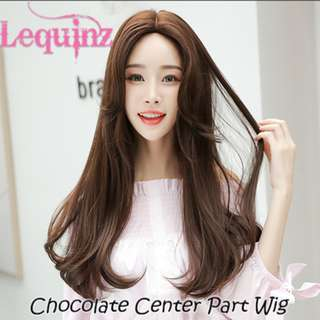 Center Part Chocolate Full Head C CurL In Hair Wig