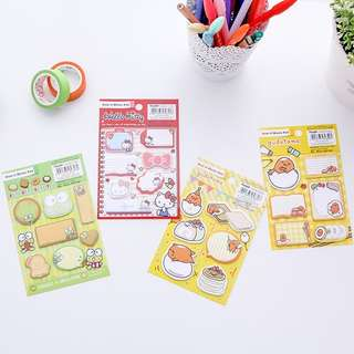 🚚 SANRIO HELLO KITTY / KEROPI  / GUDETAMA MINI POST ITS / STICKY MEMO PAD / STICK MARKER @  @ $1.70 PER BOOKLET OR ALL 4 DESIGNS FOR $6 ONLY!!! READY STOCKS!