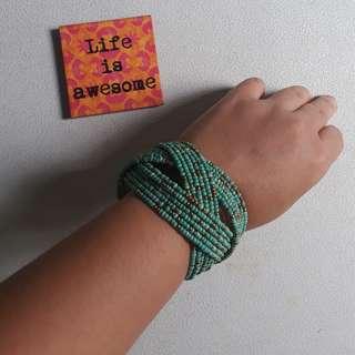 Fancy Cuff Beaded Bracelet // Aqua Blue