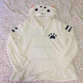 White Cat Henley Hoodie