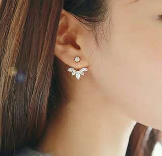 Zircon Crystal Ear Cuff Clip Leaf Stud Earings