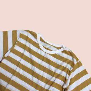 Mustard Yellow Striped Semi Crop Top