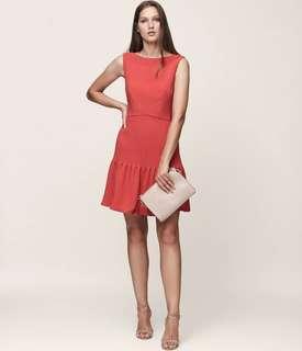 Reiss MARISA PIN-TUCK DRESS LOTUS RED size 8