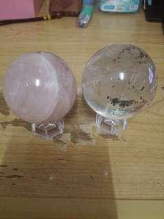 🚚 粉水晶球+綠幽靈球