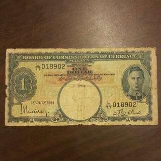 1941 Malaya 1 Dollar L77