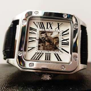 全自動銀鋼機械陀飛輪羅馬數字真皮手錶 Original Automatic Silver Steel Mechanical Tourbillon Roman Digital Genuine Leather Watch