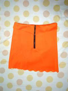 Scallop mini skirt-orange