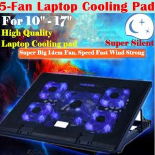 5 Fans 2 USB Laptop Cooler Cooling Pad LED Notebook Cooler Computer USB Fan Stand Radiator heatsink