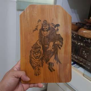 🚚 鍾馗騎虎 檜木板 掛飾 擺飾