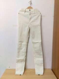 🚚 A&F白色高腰長褲