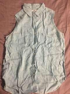 Uniqlo large linen sleeveless polo blue