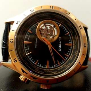 全自動金鋼機械陀飛輪真皮手錶 Original Automatic Gold Steel Mechanical Tourbillon Genuine Leather Watch