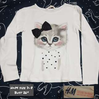 H&M Long Sleeved Top size 7-8