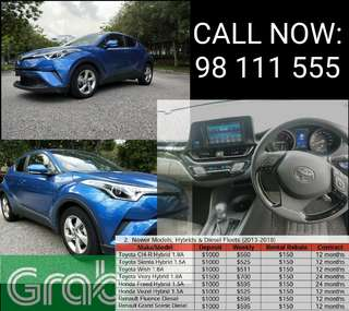 TOYOTA CH-R HYBRID FOR RENT. GRAB CAR RENTAL