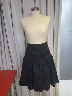 Emporio Armani Emerald Plaid Wool Skirt