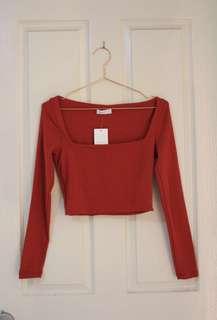 Red Kookai Long Sleeve Crop